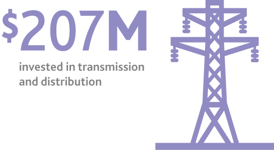 $207M invested in transmission and distribution
