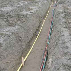 A trench with lines