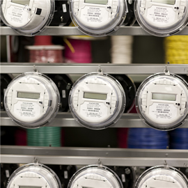 electric meters on a rack