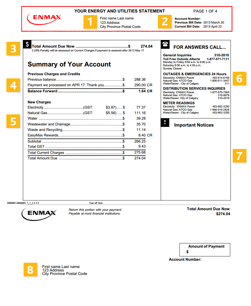 How to read your bill / page 1